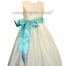Pegeen's Basic Add A Sash Flower Girl Dress in New Ivory and Tiffany Blue