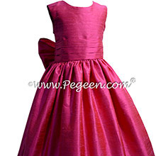 Shock Hot Pink Silk flower girl dresses for your wedding party by PEGEEN