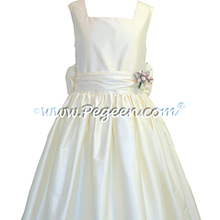 New Ivory flower girl dresses style 319 in Silk by Pegeen