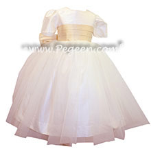 Wheat and ivory silk Flower Girl Dresses