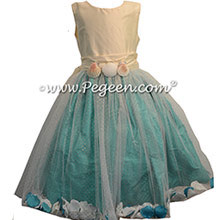 Bisque Silk and Bermuda FLOWER GIRL DRESSES with TULLE - style 333 by pegeen