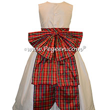 New Ivory Silk and Christmas Plaid Flower Girl Dresses by PEGEEN