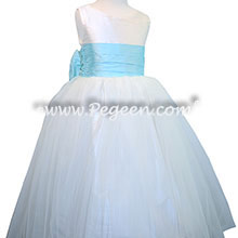 Bahama Breeze and White silk flower girl dresses with silk bow