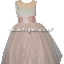 Ivory and blush pink tulle custom silk flower girl dresses - Pegeen Classic Style 356