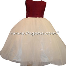 Eggplant and Ivory Tulle and Silk Flower Girl Dresses