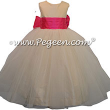 Bisque and Luscious Pink Silk Custom Flower Girl Dresses Style 356