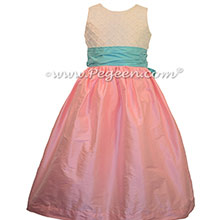 Pink and Turquoise Flower Girl Dresses