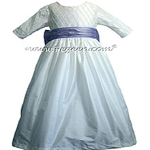ANTIQUE WHITE AND LILAC CUSTOM FLOWER GIRL DRESSES with pin tuck silk bodice