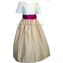 FLOWER GIRL DRESSES in Flamingo Pink and Pure Goldand White Pin Tuck Bodice