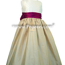 Trellis silk bodice with spun gold and flamingo pink silk flower girl dresses