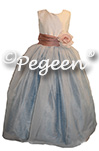 Rum Pink - Caribbean Blue and New Ivory silk Custom Flower Girl Dresses by Pegeen