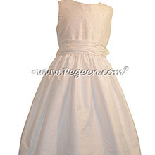 Antique White with  Pearls Bodice First Communion Dresses Style 370