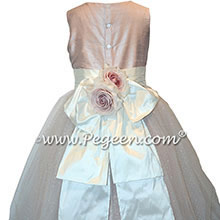 Ballet Pink with silver glitter tulle and back flowers Custom Style 372 | Pegeen