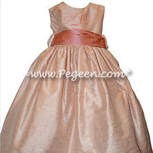 Monogrammed Toddler Flower Girl Dress with Coral Monogram and Peach Silk | Pegeen