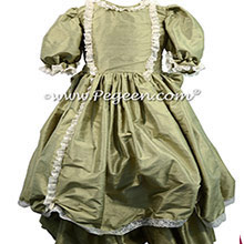 Sage SILK DRESS FOR FLOWER GIRL by Pegeen Style 397 for the Nutcracker Clara Dress