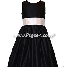 Champagne Pink and Black Custom Silk Flower Girl Dresses Style 398 | Pegeen
