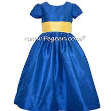 Blue Indigo and Saffron Yellow Flower Girl dresses - Pegeen Style 398
