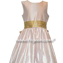 Flower Girl Dress Style 398 in Blush and Spun Gold
