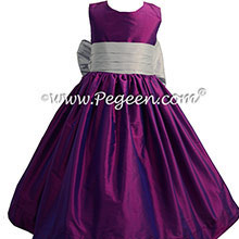 Flower Girl Dress in Boisenberry and Platinum Gray - Pegeen Style 398