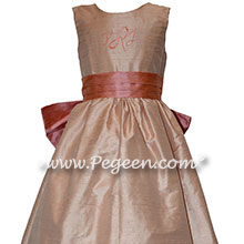 Monogrammed Flower Girl Dress with Coral Rose and Sash Monogram and Peach Silk | Pegeen