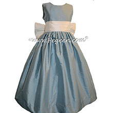 New Ivory and Caribbean Blue flower girl dresses Style 398