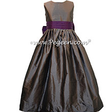 MEDIUM GRAY AND DEEP PLUM FLOWER GIRL DRESSES