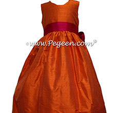 Mango and Raspberry silk flower girl dresses in silk style 398 by Pegeen