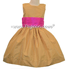 SPUN GOLD AND CERISE PINK FLOWER GIRL DRESSES