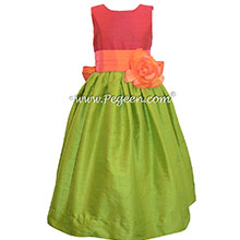 Mango and Lipstick Pink and Grass Green silk flower girl dresses Style 398 by Pegeen