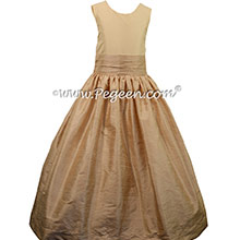 Toffee and Bisque Custom Silk Flower Girl Dresses