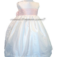 Ballet Pink and White custom silk flower girl dresses with silk bow