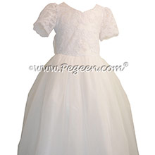 Antique White Aloncon Tulle First Communion Dress Style 402