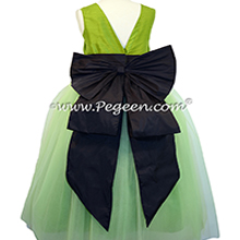 Chartreuse Green and Midnight Blue ballerina style with layers and layers of tulle - Pegeen Couture Style 402