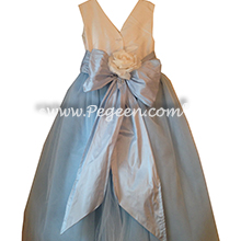 Flower Girl Dress Style 402 - Bisque and Baby Blue Silk and Tulle Flower Girl Dresses