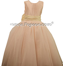 Baby Pink and Bisque ballerina style Flower Girl Dresses with Tulle