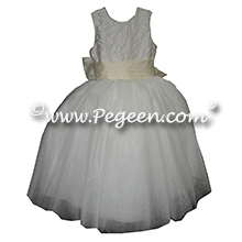 Pearled Bodice with Antique White and Crystal Tulle and  silk and  tulle ballerina style flower girl dresses Style 402 Pegeen