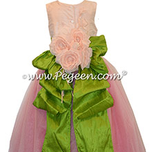 Gumdrop Pink and Green ballerina style Flower Girl Dresses with Crystal tulle