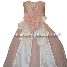 Flower Girl Dress Style 402 - Ballet Pink with Antique White Silk and Tulle flower girl dresses
