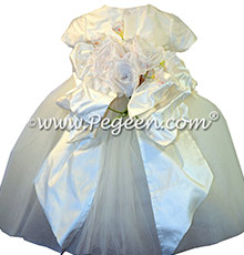 New Ivory tulle ballerina style flower girl dresses with a Pegeen Signature Bustle