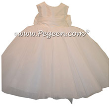 Antique White silk tulle flower girl dress with dew drop tulle