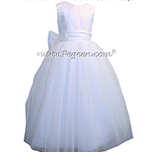 Antique White silk with Crystal Tulle First Communion style dresses