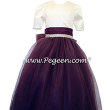 Eggplant and New Ivory silk flower girl dresses with rhinestones flower girl dress with layers of tulle