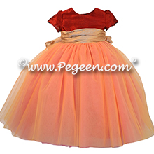 Mountain Fall (copper) and spun gold silk and copper tulle flower girl dresses