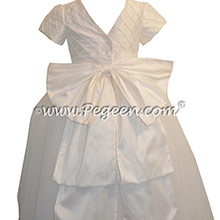 Antique White Trellis with  Pearls and Tulle Skirt First Communion Dresses Style 402