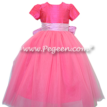 Tickle pink sash and shock pink silk and tulle flower girl dresses