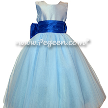 Blue Moon and Sapphire Blue Silk and Tulle Flower Girl Dresses