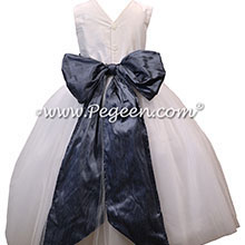 Arial Blue and Antique White Tulle and Silk Flower Girl Dresses