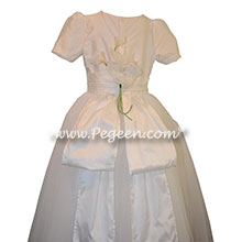 Baby Pink and New Ivory ballerina style Flower Girl Dresses with Crystal tulle