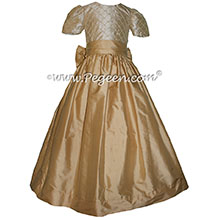 Pure Gold and Tawny Gold silk junior bridesmaid dress with pintucks and pearls Pegeen Couture Style 409