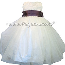 Iris and Antique White ballerina style Flower Girl Dresses with Crystal tulle